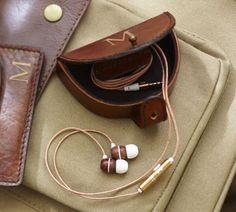 Monogrammed Saddle Leather Earphone Case