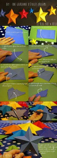 [DIY No& n& Une guirlande d& en origami ! Origami Diy, Origami And Kirigami, Origami Tutorial, Origami Paper, Diy Paper, Paper Art, Paper Crafts, Oragami, Dollar Origami