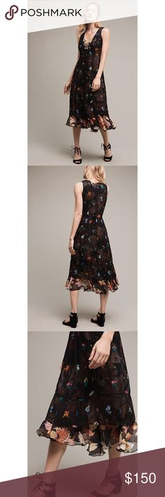 """NWT Anthro Floreat Gadren Stroll Midi Dress SZ4 * Rayon, cotton; polyester lining * Empire-waist silhouette * Pullover styling * Hand wash * Imported * Style No. 4130089546872 * Regular falls 42.65"""" from shoulder * Model is 5'10"""" Item is new with tags and has never been worn.  Comes from a smoke and pet free home.  My prices are firm. No trades or holds. No transactions off of poshmark. Anthropologie Dresses Midi"""