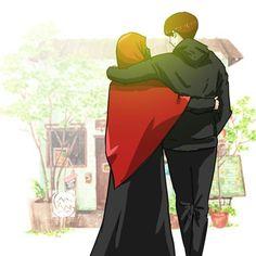 Feliz é o homem que tem uma mulher de Deus ao seu lado. Happy is the man who has a woman of God by his side. Love Cartoon Couple, Cute Love Cartoons, Cute Couple Art, Anime Love Couple, Cute Muslim Couples, Muslim Girls, Cute Couples, Cartoon Wallpaper, Niqab
