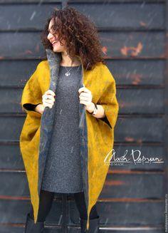 """Купить Валяное двустороннее пальто """" Золото и серебро"""" - комбинированный, однотонный, пальто валяное"""