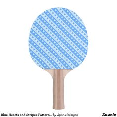 Blue Hearts and Stripes Pattern Paddle