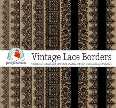 Vintage Black Lace Borders - victorian black lace digital borders, photography overlay, wedding clipart, printable Instant Download 5019 by pickychicken