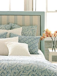 the French Ticking teal upholstered headboard!Love the French Ticking teal upholstered headboard! Dream Bedroom, Home Bedroom, Budget Bedroom, Bedroom Ideas, Deco Champetre, Sweet Home, Diy Casa, Decoration Bedroom, My New Room