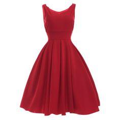 Vintage Sweetheart Neck Red Pleated Dress, RED, XL in Vintage Dresses | DressLily.com