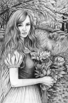 Pencil Art Illustration  Flower Girl 8 x 10 Art by elvesfairies, $20.00