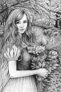 Pencil Art Illustration  Flower Girl 8 x 10 Art by elvesfairies
