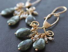 Seraphinite earrings on Etsy, $50.00