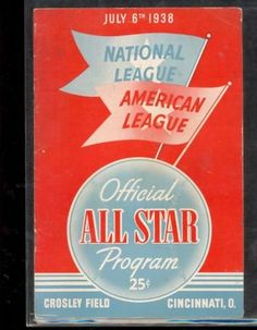 1938 All-Star Game Program @ Crosley Field. Program shows moderate wear and scorecard has been filled out in pencil.