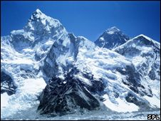 Mount Everest and Khumbu glacier-http://news.bbc.co.uk/2/hi/south_asia/8387737.stm