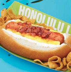 Give hot dogs some island fever with sweet mango sauce, pineapple spears and bacon. Honolulu Luau Dogs might inspire a Hawaiian theme for your Memorial Day cookout!