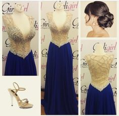 Elegant Royal Blue gown with a Nude bodice completely covered in AB Crystals. #girligirlboutique #girligirl#prom2015 #royal #blue