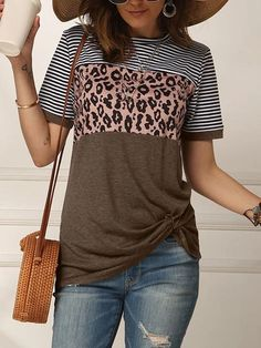 Leopard Print Striped Twisted Short Sleeve T-shirt Leopard Print Shorts, Leopard Blouse, Casual T Shirts, Casual Tops, Blue Fashion, Spring Fashion, Striped Shorts, Stripe Print, Shirt Style