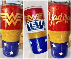 All personalization is FREE! You may add, remove or change anything youd like! Perfect for the Wonder Woman lover! This custom Yeti or tumbler is dipped with REAL glitter and sealed for a completely smooth finish! The glitter shines bright and sparkles beautifully when it hits the light. You have 2 brands to choose from. These are not the Ozark (Walmart brand) tumblers! I take pride in providing my customers with quality items therefore, I offer HOGG tumblers or Yetis. The HOGG tumblers…