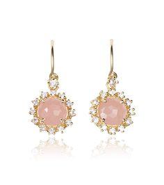 zsazsasitlist:  DESIGNER:SUZANNE KALAN SEE DETAILS HERE:Yellow Gold Rose Quartz and White Sapphire Starburst Drop Earrings