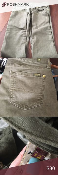 NWOT olive green/khaki 7 for all mankind jeans Size 12 can fit canal women or can be for girls/ juniors. Pants are brand new without tags. Cotton polyester spandex. Open to offers! Amazing brand at a great price! 7 For All Mankind Bottoms Jeans