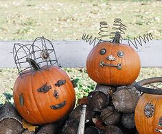 "Crown a regal pumpkin with a hat of garden fencing (left in photo) or top a jack-o'-lantern with curly ""locks"" from old bed springs"
