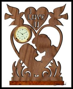 Scrollsaw Workshop: Lovers Mini Clock Scroll Saw Pattern. Scroll Pattern, Scroll Saw Patterns, Wood Patterns, Wood Projects, Woodworking Projects, Projects To Try, Lathe Projects, Wood Crafts, Diy And Crafts