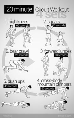 20 Minute Circuit Workout - good for days where you can't make it to the gym #exercise #fitness