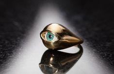 Gold Evil Eye Ring, Eye ring, Boho ring bohemian jewelry, Gold mens ring, Gold seal ring, third eye ring