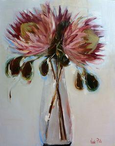 Blog Posts - Nicole Pletts Fine Art Protea Art, Flower Vases, Flower Art, Art Flowers, Art Floral, Contemporary Abstract Art, Contemporary Artists, Pastel Artwork, South African Artists