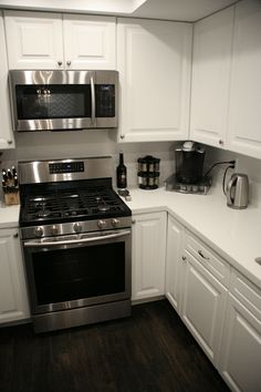 White Kitchen, Dark Floors All White Kitchen LED Recessed Lights HD Supply  Solutions Cabinets White