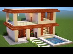 Minecraft Tutorial: CASA MODERNA SIMPLES (Neffos X1 MAX) Easy Minecraft Houses, Minecraft Castle, Minecraft Projects, Minecraft Buildings, Minecraft Ideas, Minecraft Kingdom, Minecraft Banner Designs, Minecraft Structures, Minecraft Mansion