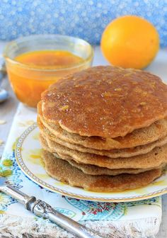 One bite of these Oatmeal Pancakes with Cinnamon Orange Syrup & you'll think you've died and gone to pancake Heaven! | Recipe is vegan, gluten-free, low FODMAP