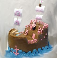 Pirate Ship cake for girl's birthday - like the railing for this although chocolate matchmakers on top of the balusters would be firmer Cute Birthday Cakes, Pirate Birthday, Pirate Party, 2nd Birthday, Pirate Ship Cakes, Creative Cakes, Creative Food, Bday Girl, Cakes For Boys