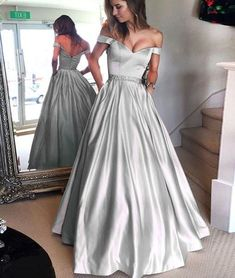 Sparkly Prom Dress, Gray satins off shoulder long prom dress, long formal dress These 2020 prom dresses include everything from sophisticated long prom gowns to short party dresses for prom. A Line Prom Dresses, Beautiful Prom Dresses, Elegant Dresses, Pretty Dresses, Dress Prom, Long Dresses, Silver Prom Dresses, Silver Satin Dress, Party Dress