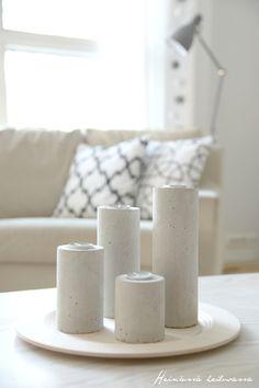 Heinässä heiluvassa: DIY - kynttilänjalat betonista