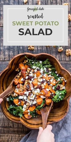 Fried sweet potatoes are served in a salad with kale, dried cranberries, walnuts. - Fried sweet potatoes are served in a salad with kale, dried cranberries, walnuts … – Fried swe - Best Salad Recipes, Vegetarian Recipes, Cooking Recipes, Healthy Recipes, Recipes With Kale, Cooking Bacon, Crockpot Recipes, Veggie Salads Recipes, Delicious Salad Recipes