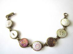 Pinks & Pearls antique button bracelet, intricate glass buttons, mother of pearl shell buttons