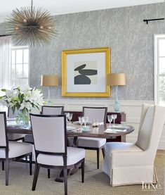 Modern Neutral Dining Room with Wall Sculptures | LuxeSource | Luxe Magazine - The Luxury Home Redefined