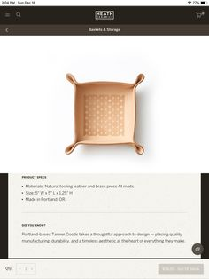 Heath Ceramics, Storage Baskets, Cool Gifts, Take That, Cool Stuff, How To Make, Leather, Design