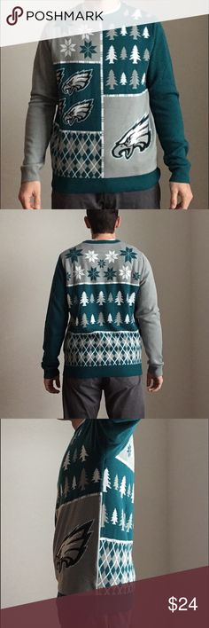 NFL Christmas Sweater - Philadelphia Eagles This sweater features team colors with several team logo images on the front. Stay warm in style. NFL Team Apparel. 100% Acrylic. Made in China. Sweaters Crewneck