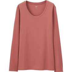 UNIQLO Women's Supina(R) Cotton Crewneck Long Sleeve T-Shirt ($15) ❤ liked on Polyvore featuring tops, t-shirts, crew neck long sleeve t shirt, cotton tee, long sleeve fitted tee, crew neck t shirt and red t shirt