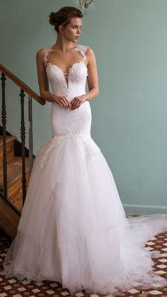riki dalal bridal 2016 sleeveless plunging sweetheart lace straps embellished bodice mermaid wedding dress (1808) mv elegant romantic