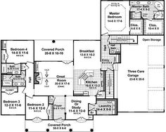 Country Style House Plans - 2724 Square Foot Home, 1 Story, 4 Bedroom and 3 3 Bath, 3 Garage Stalls by Monster House Plans - Plan 2-366