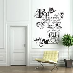Vinyl Wall Decal Sticker Art - Kissed my Soul - Judy Garland quote - Whimsical Mural. $29.95, via Etsy.
