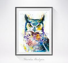 Horned Owl watercolor painting print bird watercolor by SlaviART