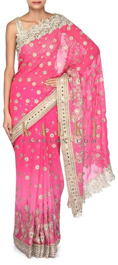 Buy Online from the link below. We ship worldwide (Free Shipping over US$100). Product SKU - 302973. Product Link - http://www.kalkifashion.com/shaded-pink-saree-adorn-in-resham-and-mirror-only-on-kalki.html