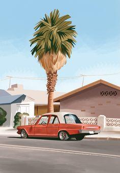 """Old Car With Palmtree"" Thorsten Hassenkamm"