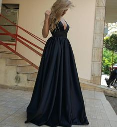 Graduation Dresses , A-Line Deep V-Neck Court Train Sleeveless Backless Black Prom Dress, Black Evening Dress, Formal Prom Dresses
