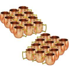 Amazon.com   DakshCraft ® Pure Copper Solid Shot Hammered Mugs, Set of 24: Beer Mugs & Steins
