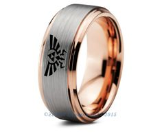 Legend of Zelda Tungsten Wedding Band Ring Mens Womens Beveled Edge Brushed Rose Gold Fanatic Geek Anniversary Engagement ALL Size Available