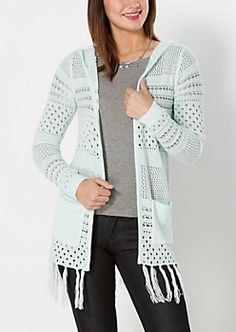 Mint Pointelle Fringed Cardigan
