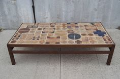 Coffee Table by Willy Beck with Ceramic Tile-Top by Tue Poulsen | From a unique collection of antique and modern coffee and cocktail tables at https://www.1stdibs.com/furniture/tables/coffee-tables-cocktail-tables/