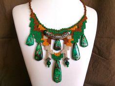 Cavandoli Macrame Necklace with Green Sea Sediment Jasper Beads/ Macrame Necklace