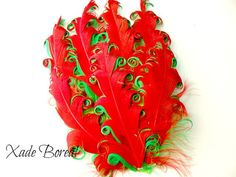 1 Nagorie Curled Feather Pad red  over green by XadeBorealSupplies, $3.50